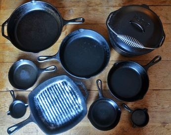 Cast iron cookware set - skillets, dutch oven, grill