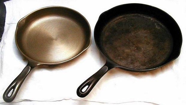 Cast iron skillets - before seasoning and after prolonged use
