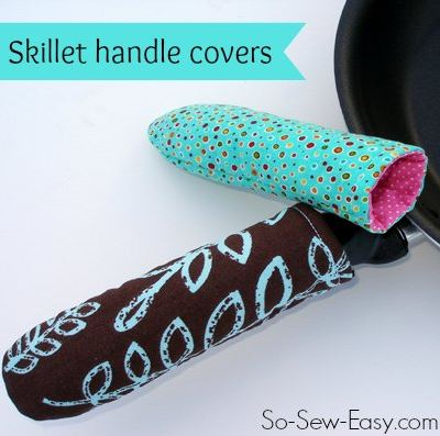 Homemade skillet handle covers from so-sew-easy