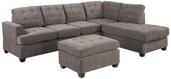 Bobkona Austin 3-Piece Reversible Sectional with Ottoman Sofa Sleeper Set