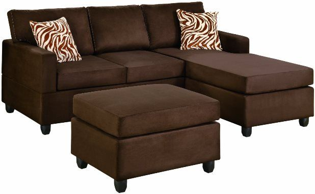 Bobkona Manhattan Reversible Microfiber 3-Piece Sectional Sofa