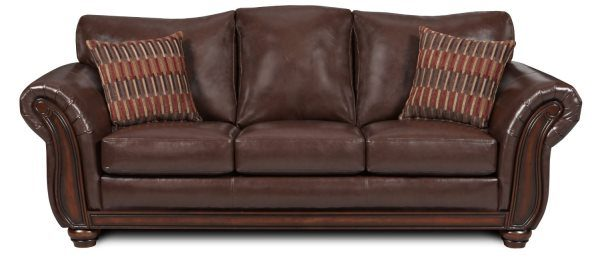 Simmons Upholstery Santa Monica Vintage Queen Size Leather Sofa Sleeper